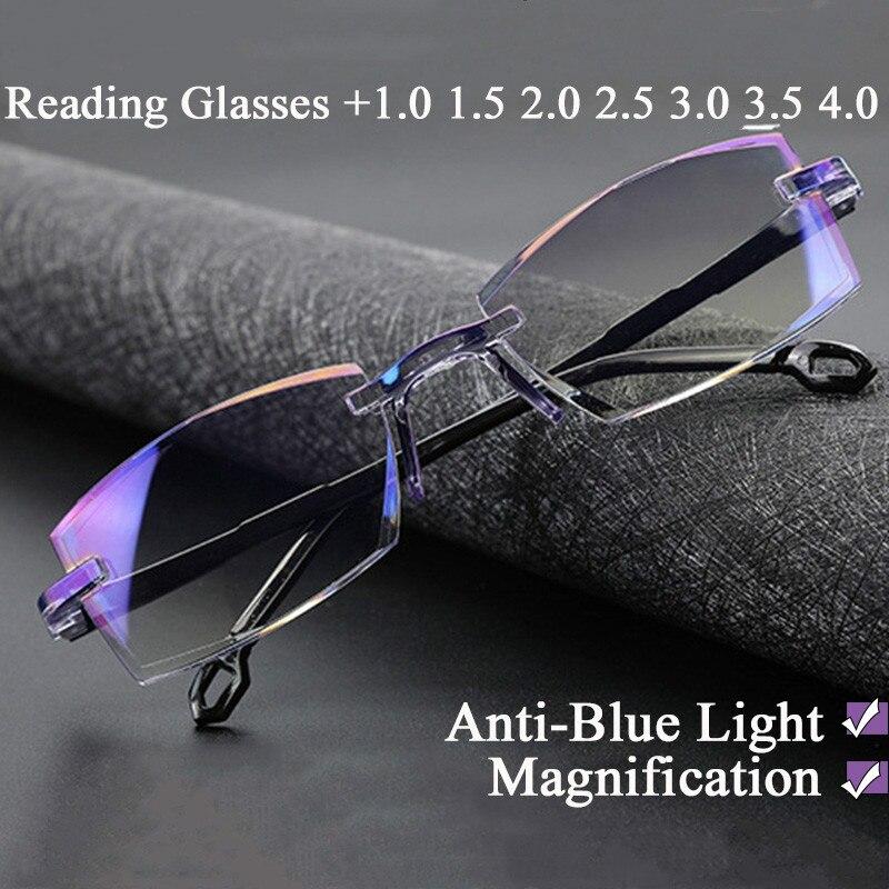 0 ~ +4.0 New Anti Blue Light Reading Glasses Glasses Magnification Eyewear Presbyopic Eyeglasses Diopter Dimond Cutting sys0076 3 0 diopter reading presbyopic glasses black