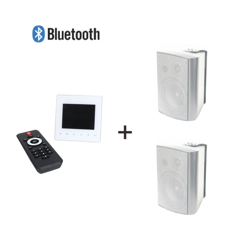 مضخم صوت صغير مثبت على الحائط 2*15 واط مع 2 قطعة سماعات جدار 4 بوصة 15 واط يدعم USB/SD/AUX/Bluetooth/FM
