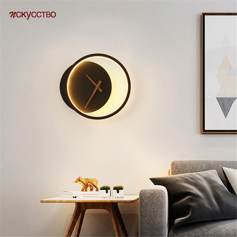 مصباح جداري Led على شكل ساعة دائرية ، مصباح جداري Led بتصميم نورديك بسيط ، إضاءة زخرفية داخلية ، مثالي لغرفة المعيشة أو غرفة الطعام أو الدور العل...