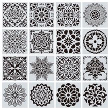 16pcs 15*15cm Mandala wall Drawing Stencil Reusable Stencil Cut Painting DIY Template Floor Wall Tile Fabric Furniture Stencils*