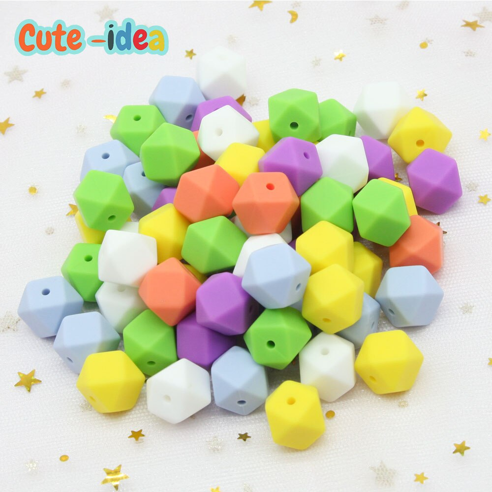 Cute-idea 1000pcs 17mm Hexagon Silicone Beads BPA Free Food Grad Baby Teether DIY Toy Infant Shower Gift Necklace Pacifier Chain