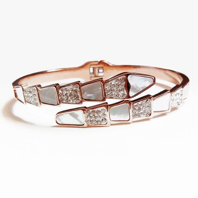 Brazalete de acero de titanio de concha de hueso de serpiente de lujo para mujer, joyería de moda, pulsera de oro rosa, pulsera concisa, joya para mujer