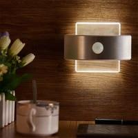 led sensor light human body induction lamp bedroom wall lighting bedside corridor closet light chargeable home small night lamp