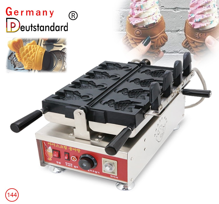 купить Commercial Electric Open Mouth Fish Shape Taiyaki Machine Waffle Cone Maker Ice Cream Taiyaki Equipment Waffle Maker With CE в интернет-магазине