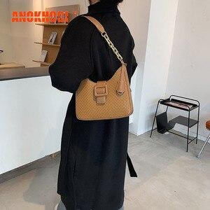 ANOKHOGI Female Big Capacity Colorful Woven Shoulder Bag PU Patchwork Vintage Metal Straps Handbag zx134