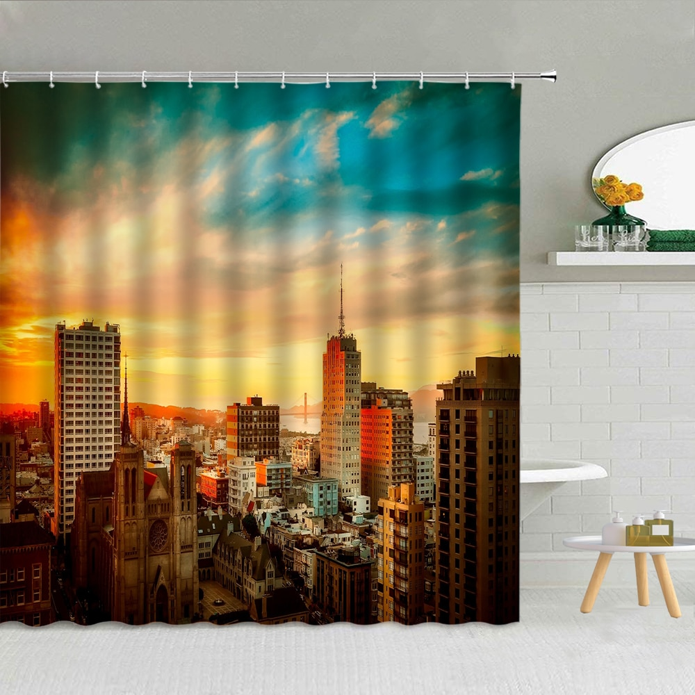 City Building Sunset Shower Curtain Architecture Landscape Fabric High Quality Bathroom Supplies With Hooks Cloth Curtains Decor