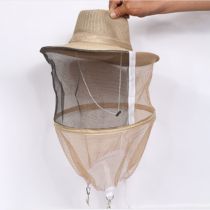 outdoor survival anti mosquito bug bee insect mesh hat head face protect net cover travel camping protector camping equipment Beekeeping Beekeeper Cowboy Hat Mosquito Bee Insect Protective Head Net Veil Face Protector Cap Comfortable Design Anti Bee Hat