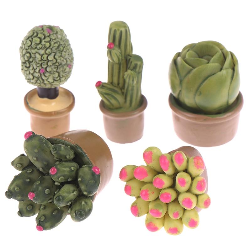 2 шт. Мини Зеленые горшечные растения, милый кактус, пустынный кактус, домашнее украшение, маленькая статуя, маленькая фигурка, ремесла, милы...