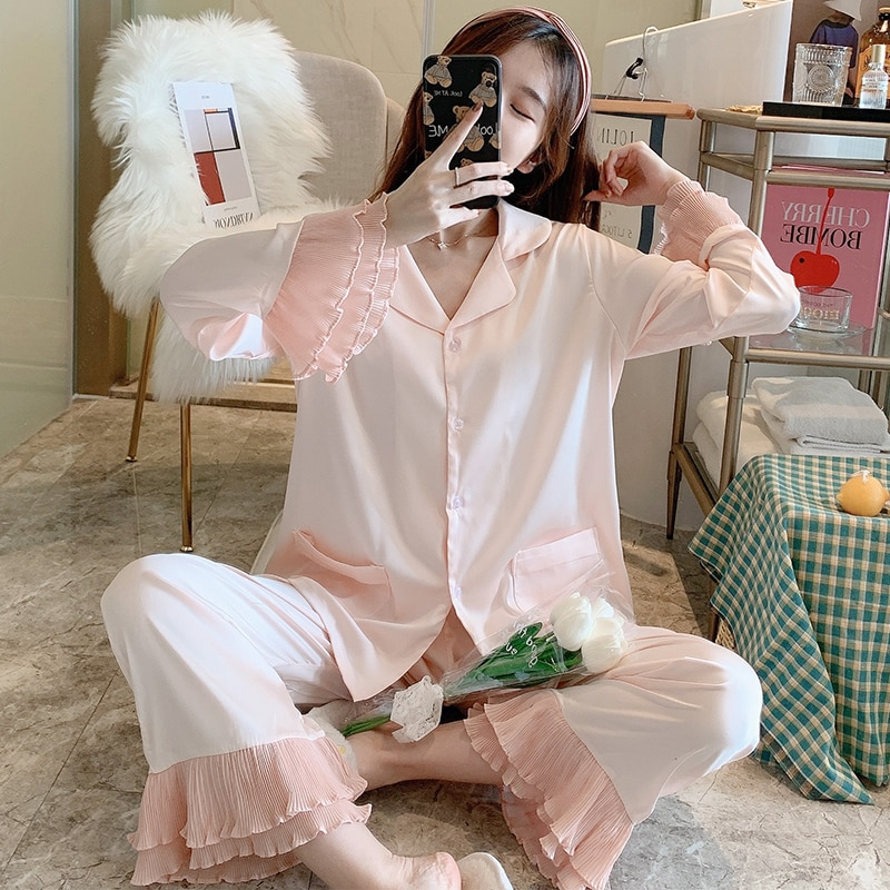 Пижама-для-женщин-Сезон-весна-осень-2020-Новое-шелковое-милое-розовое-натурального-шелка-интернет-Горячая-размера-плюс-домашняя-одежда-кос