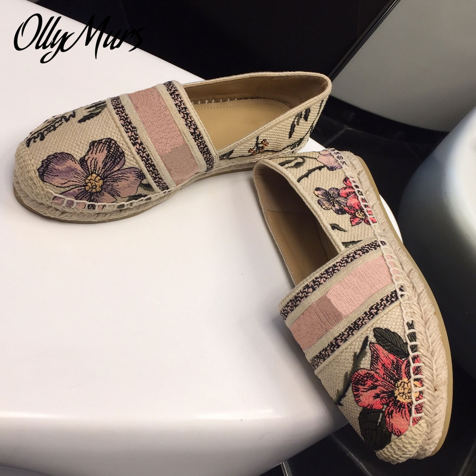 Prowow  Spring Summer Floral Embroidery Slip On Luxury Brand Loafer Espadrilles Sandals Flats Shoes