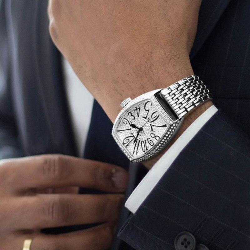 Relojes de marca lujosa para hombre, reloj de pulsera de cuarzo con diamante, reloj de negocios de acero para hombre, reloj de pulsera impermeable creativo para hombre
