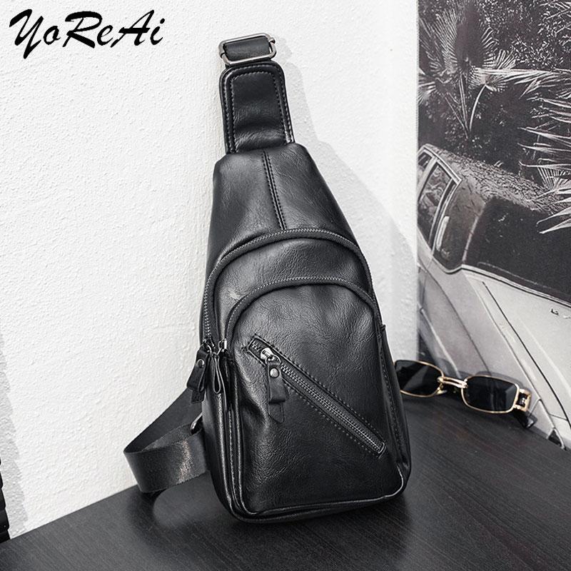 YoReAi 패션 남성 가방 가죽 슬링 지퍼 팩 가슴 어깨 크로스 바디 가방 바이커 사첼 남성 서류 가방 2021 인기 판매