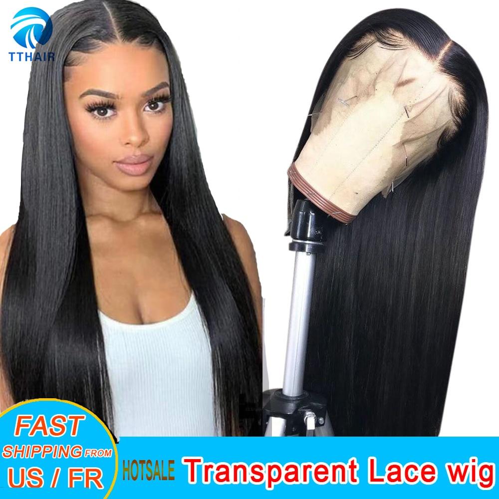 AliExpress - Human Hair Wigs Lace Front Prepluck 13×4 Lace Front Human Hair Wigs 28 Inch 4×4 Closure Wig Straight Brazilian Remy 150 Density