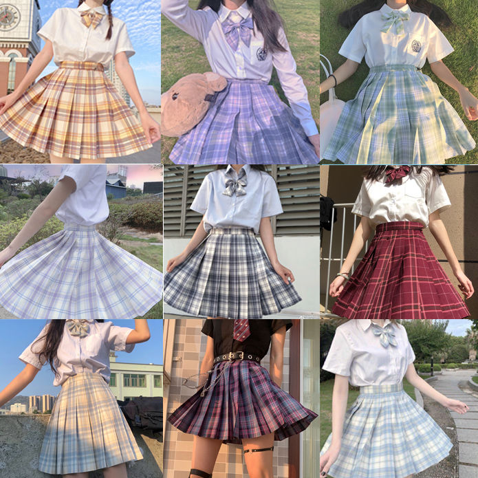 Japanese collection  jk skirt pleated skirt lattice skirt  Cute Pleated Half-Body  Women's Short  jk Uniform Sweet lolita dress japanese collection jk skirt pleated skirt lattice skirt cute pleated half body women s short jk uniform sweet lolita dress