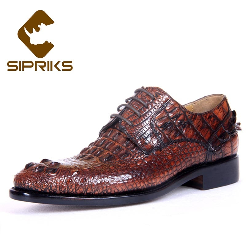 Sipriks Mens Crocodile Skin Shoes Italian Handmade Dress Shoes Imported Alligator Leather Gents Suits Boss Casual Business 2021