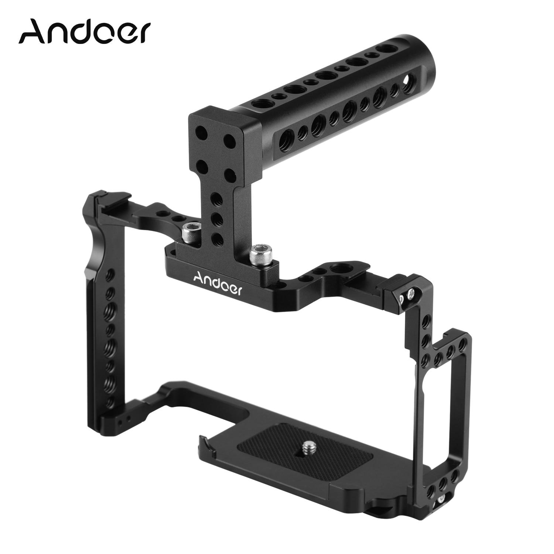 Andoer هيكل قفصي الشكل للكاميرا + مقبض علوي عدة سبائك الألومنيوم + 1/4 بوصة و 3/8 في ثقوب مزدوجة الباردة الحذاء جبل لكانون 5DS 5DR 5D مارك IV/III/II