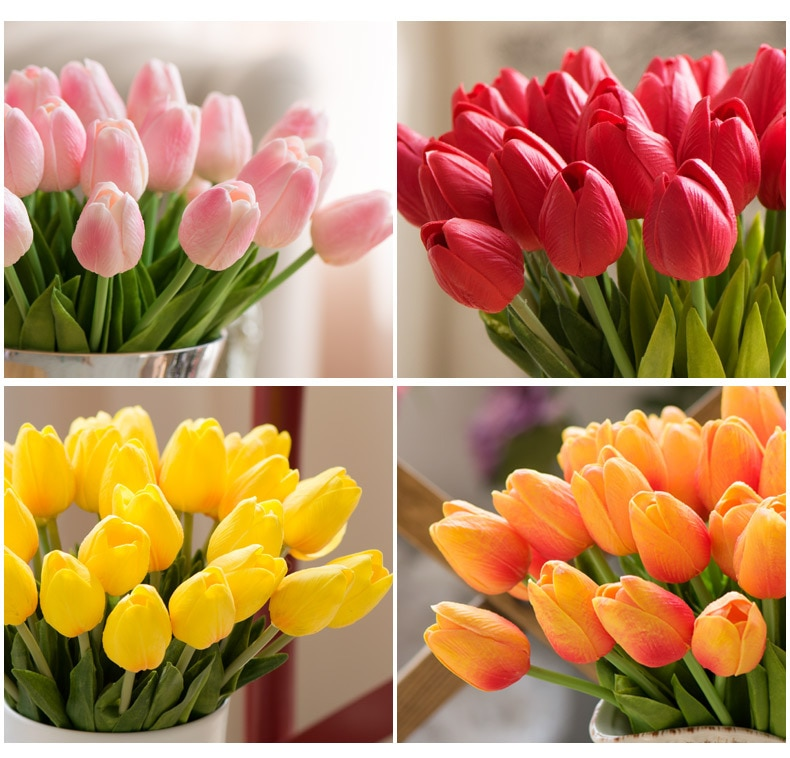 18PCS Tulip Artificial Flower Real Touch Artificial Bouquet Fake Flower for Wedding Decoration Flowers Home Garen Decor