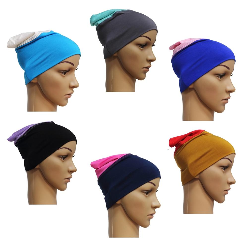 Mujeres de algodón 2 colores musulmán islámico pañuelo árabe Mini Hijab interior tubo gorras