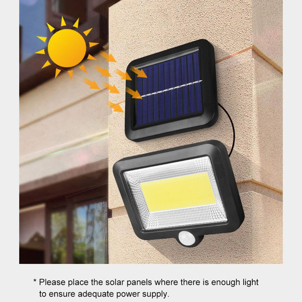 Lámpara Solar COB 100LED, Sensor de movimiento IP65, impermeable, para exteriores, iluminación nocturna, luces solares, ilumina el jardín, patio, pasillo