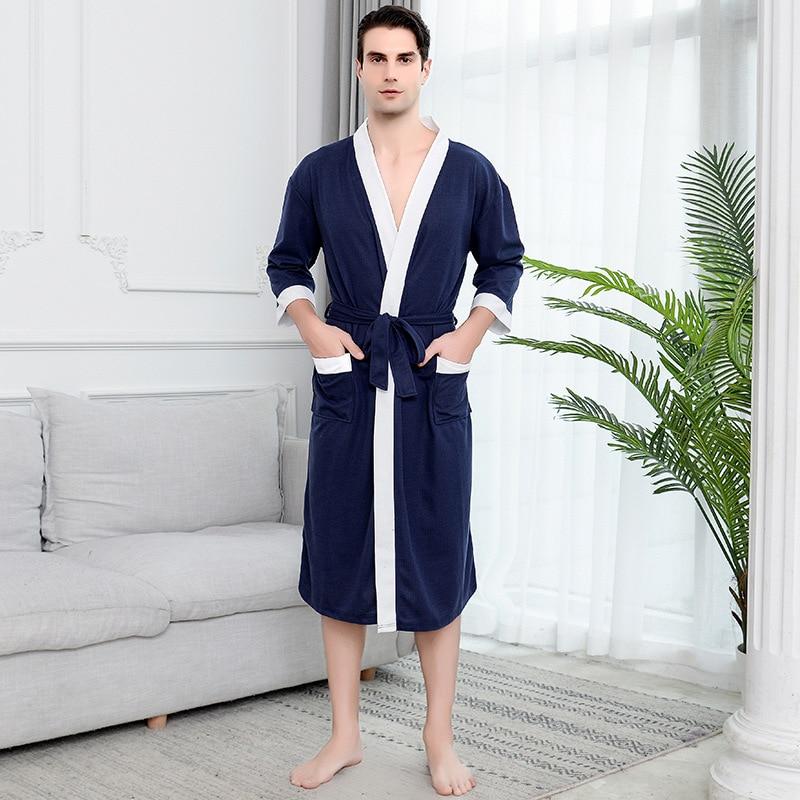 FZSLCYIYI Мужчины% 27 Вафли Отель Халат Спа Халат Вода Впитывающие Ночная рубашка Японский стиль Кимоно Шаль Воротник Халат Ночь Халат