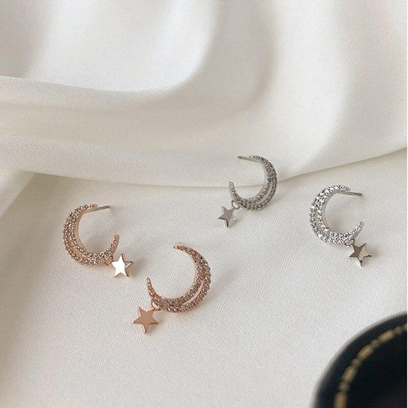 Aretes de tuerca estilo coreano con estrella de cristal y luna de...