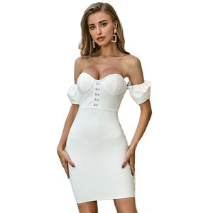 Hollow Out Bandage Dress Women Summer Boutiues Sleeveless Dresses Celebrity Party Club Wear Bodycon Vestido