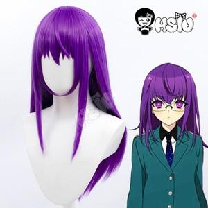 Doujima Mayumi cosplay Purple wig Bishounen Tanteidan Cosplay「HSIU 」Fiber synthetic wig Purple long hair+Free brand wig Cap