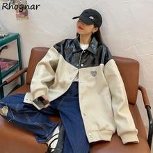 Patchwork Basic Jackets Women Ins Unisex Streetwear Coats Design Artistic Teens Loose Single Breaste