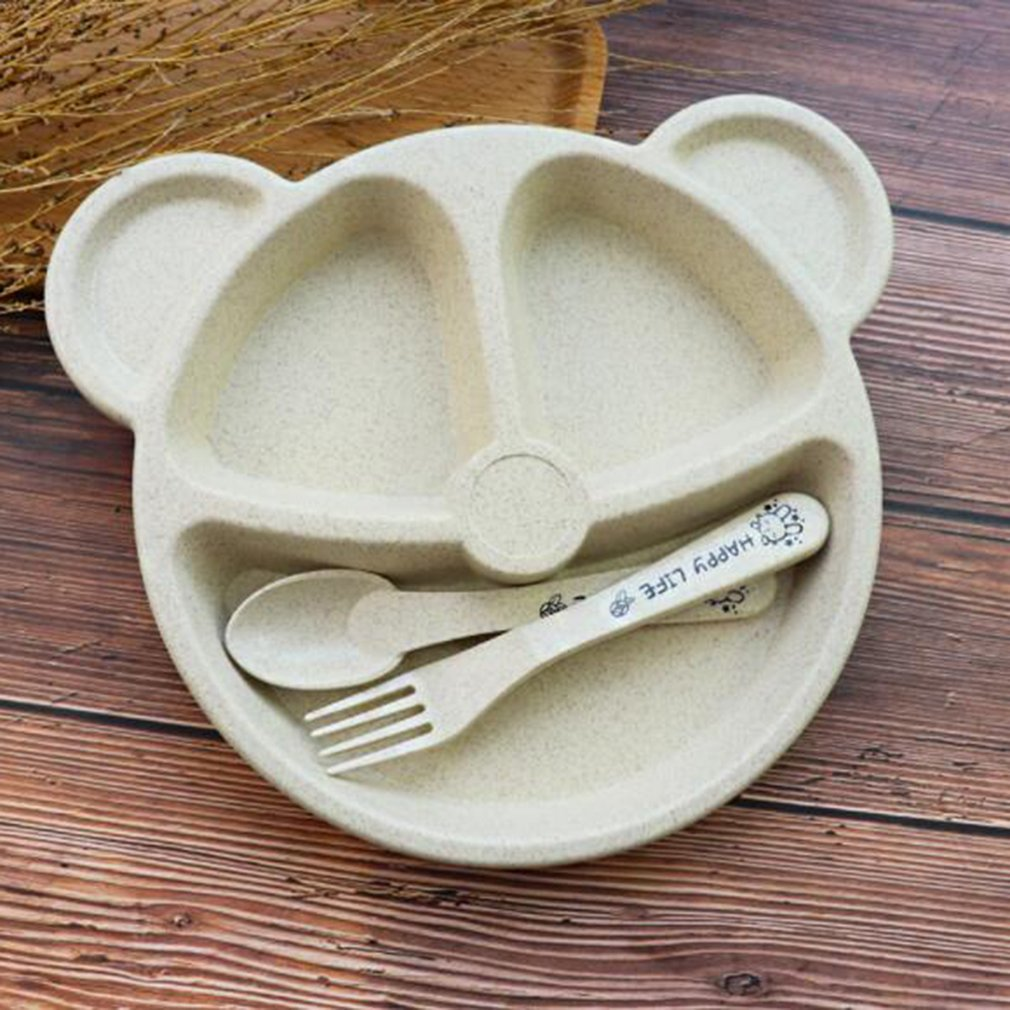 Детский набор для обеда Cubs, креативная посуда из пшеничной соломы, поднос для детской посуды, поднос для завтрака, сложная вилка и ложка