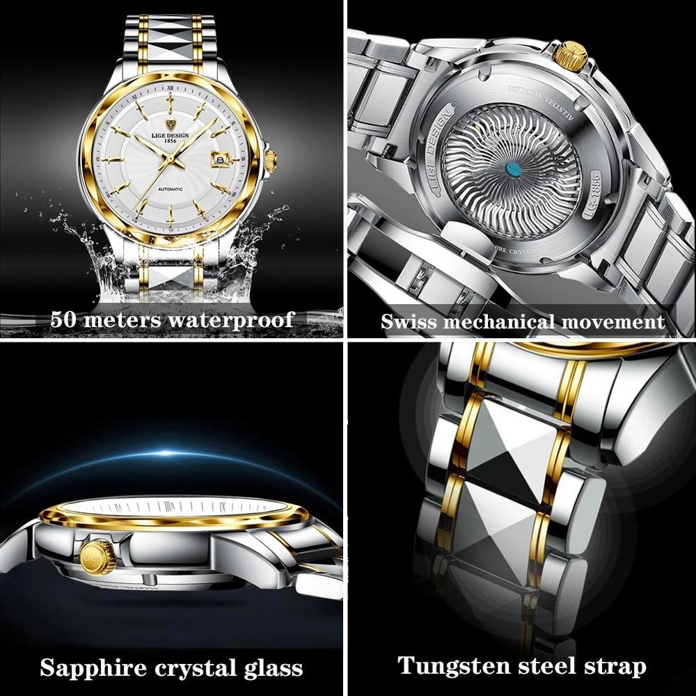 2020 New LIGE Sword-Shaped Pointer Automatic Mechanical Watch Luxury Tungsten Steel 50m Waterproof Business Watch Men Watches enlarge