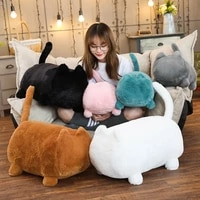 40 55cm expressionless cat large soft cartoon plush toy doll long pillow doll cushion home decoration kids birthday gift