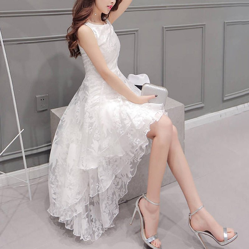 Summer Vestidos Sundress Solid Color Women Formal Prom Beach Girls Ball Gown Bridesmaid Irregular Dr