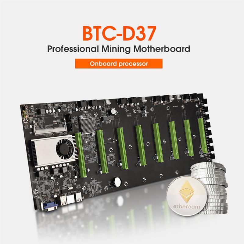 BTC-D37 Miner Motherboard CPU Set 8 PCIE 16X Graphics Card Slots DDR3 Memory VGA+HDMI-Compatible + 1850W Power Supply