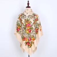 russian women big size square scarf luxury twill cotton floral print scarves wraps female retro short tassel national shawl
