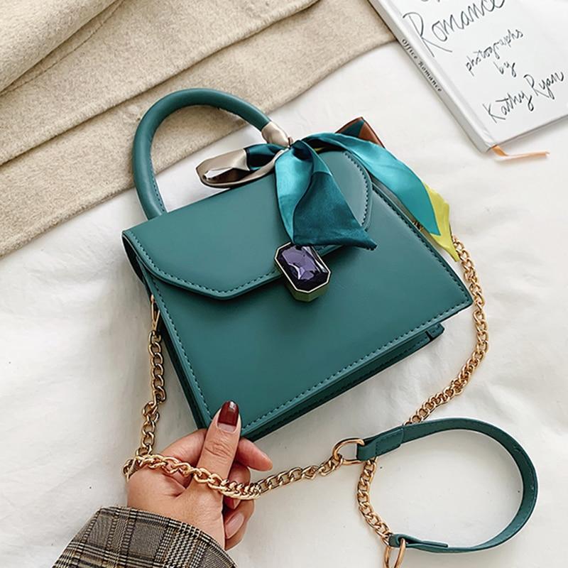 HOCODO Chain Small Crossbody Bags For Women 2020 Quality Pu Leather Shoulder Bag Fashion Ribbon Decoration Handbags Travel Purse
