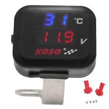 Universal KOSO Motorrad Temperatur Gauge Spannung 8.0 ~ 30,0 V Display + USB Port für Yamaha MT 07 NMAX Kawasaki moto Thermometer