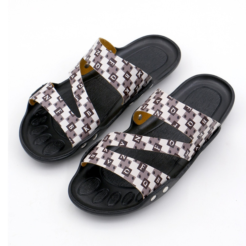 Slippers Men's 2021 Summer New PU Open Toe Classic Casual Fashion Sandals Flat Heel Comfortable Pool