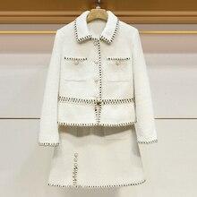 Costumes de luxe femmes deux pièces ensemble automne hiver Tweed bureau dames piste concepteur veste hauts une ligne Mini jupe vêtements