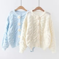 2021 autumn women cardigans winter cashmere sweater chic tops cardigans three dimensional flower buttons holiday gift fashion