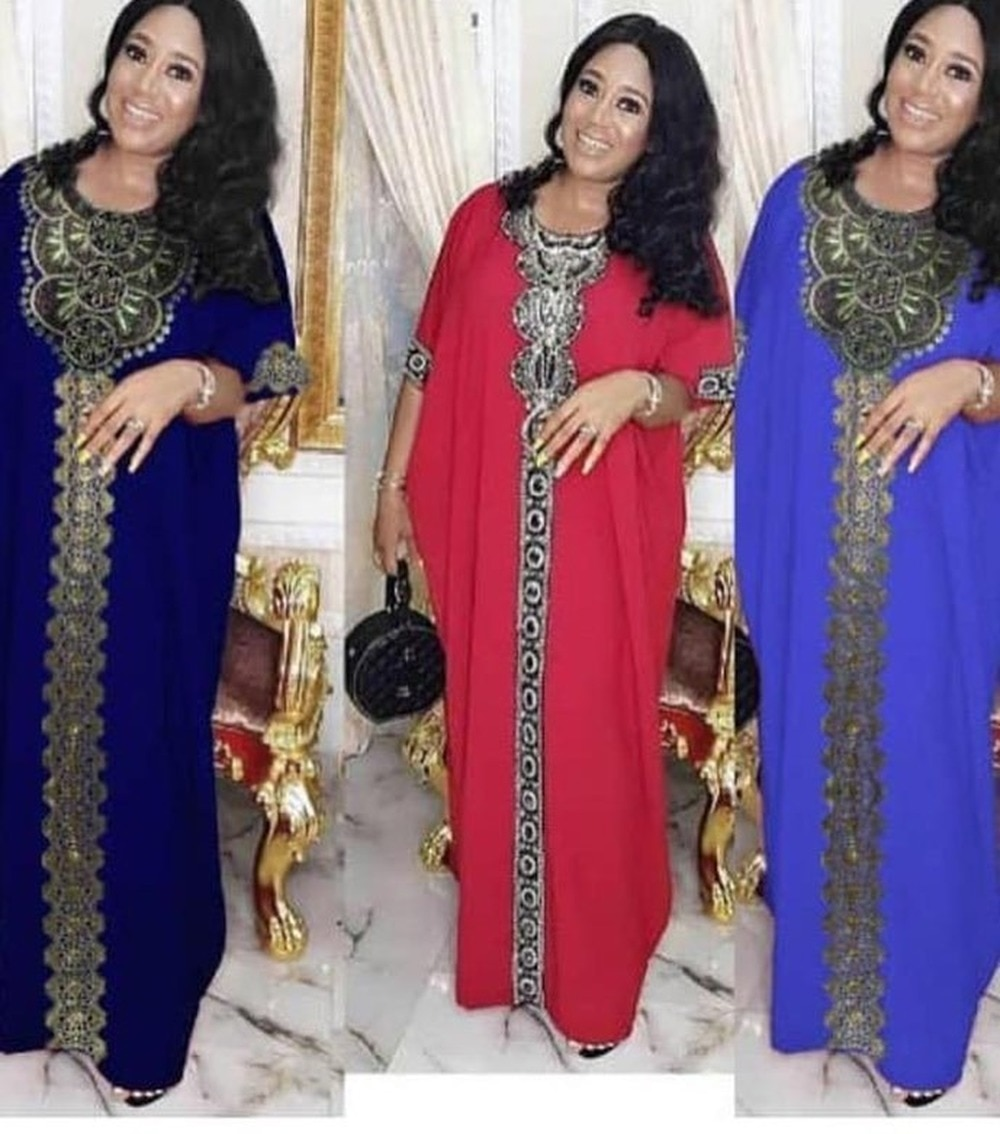 Beading Africa Clothing African Dresses for Women Muslim Robe Long Dress Hot Stamping Fashion Gown Lady