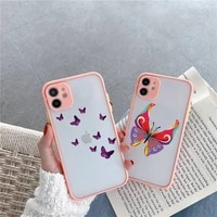 phone case for iphone 12 11 mini pro xr xs max 7 8 plus x beauty butterfly matte transparent pink cover