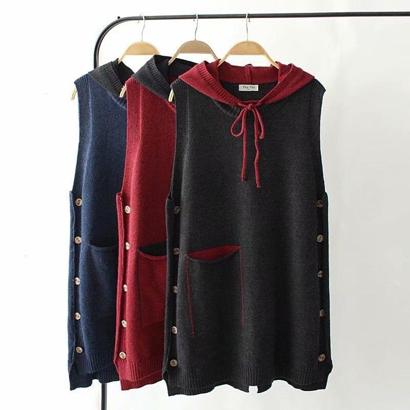 WSYORE Jersey largo 2020 nuevo otoño Casual de gran tamaño para mujeres de grasa MM sin mangas con capucha Jersey suéter de punto chaleco largo NS1219