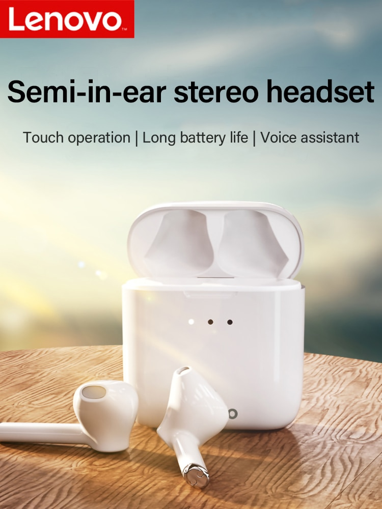 Lenovo-microfone com fones de ouvido, polarizador de ouvido, bluetooth 5.0, com microfone