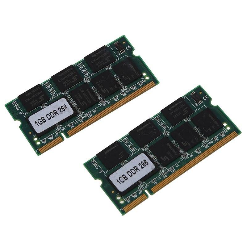 Memoria RAM PC2100 para portátil, 2x1GB, 1G, DDR CL2.5, DIMM, 266MHz, 200...