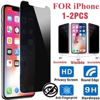 1 2pcs half screen privacy protective film tempered glass antispy for iphone 12 xs xr 6 7 8 11pro max x plus screen protector