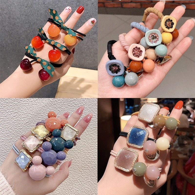 Trend 2020 Korean Simple Durable Scrunchie Women Girls Elastic Hair Rubber Bands Holder Accessories Tie Hair Rope Ring Headdress women elastic hair bands rubber tie girl acrylic cherry bow knot dot korean accessories scrunchie headbands wholesale sets
