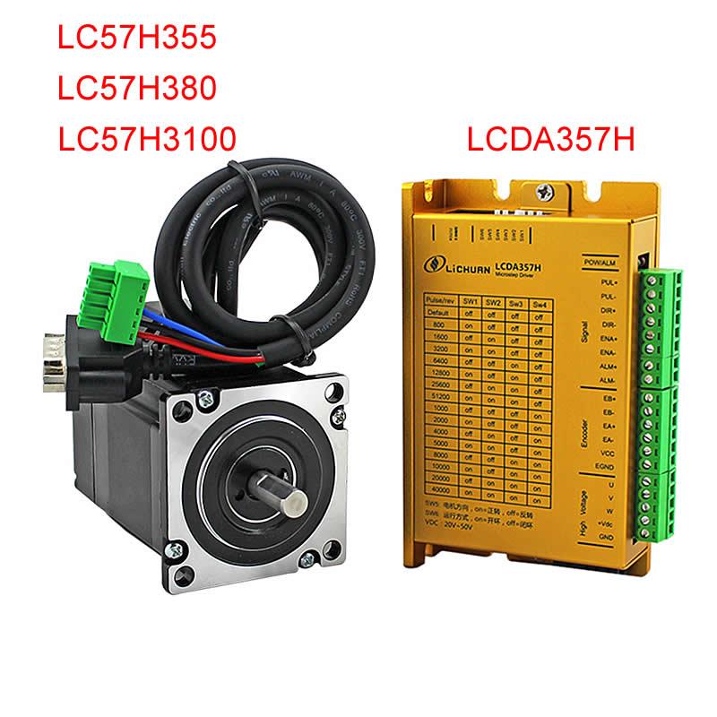 حلقة مغلقة سيرفو محرك متدرج سائق عدة مع التشفير LCDA357H و LC57H355 LC57H380 LC57H3100 لمخرطة جهاز التوجيه باستخدام الحاسب الآلي