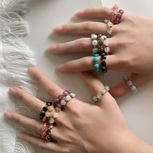 New Boho Round Natural Stone Wedding Rings for Women Girls Handmade Fashion Jewellery Geometric Tige