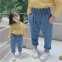 new arrival autumn baby girls denim pants children kids solid jeans high waist with botton fashion cute girls jeans dropshipping