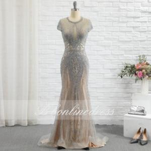 Bbonlinedress 2020 Luxury Rhinestones Nude Mermaid Evening Dress Long Evening Pageant Dresses Formal Gown robe de soiree